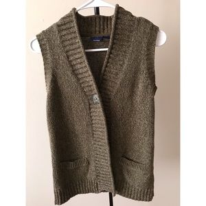Basic Editions Vest S Knitted Pockets One Button